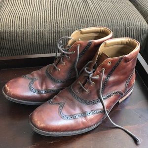 Cole Haan burgundy brogue boots